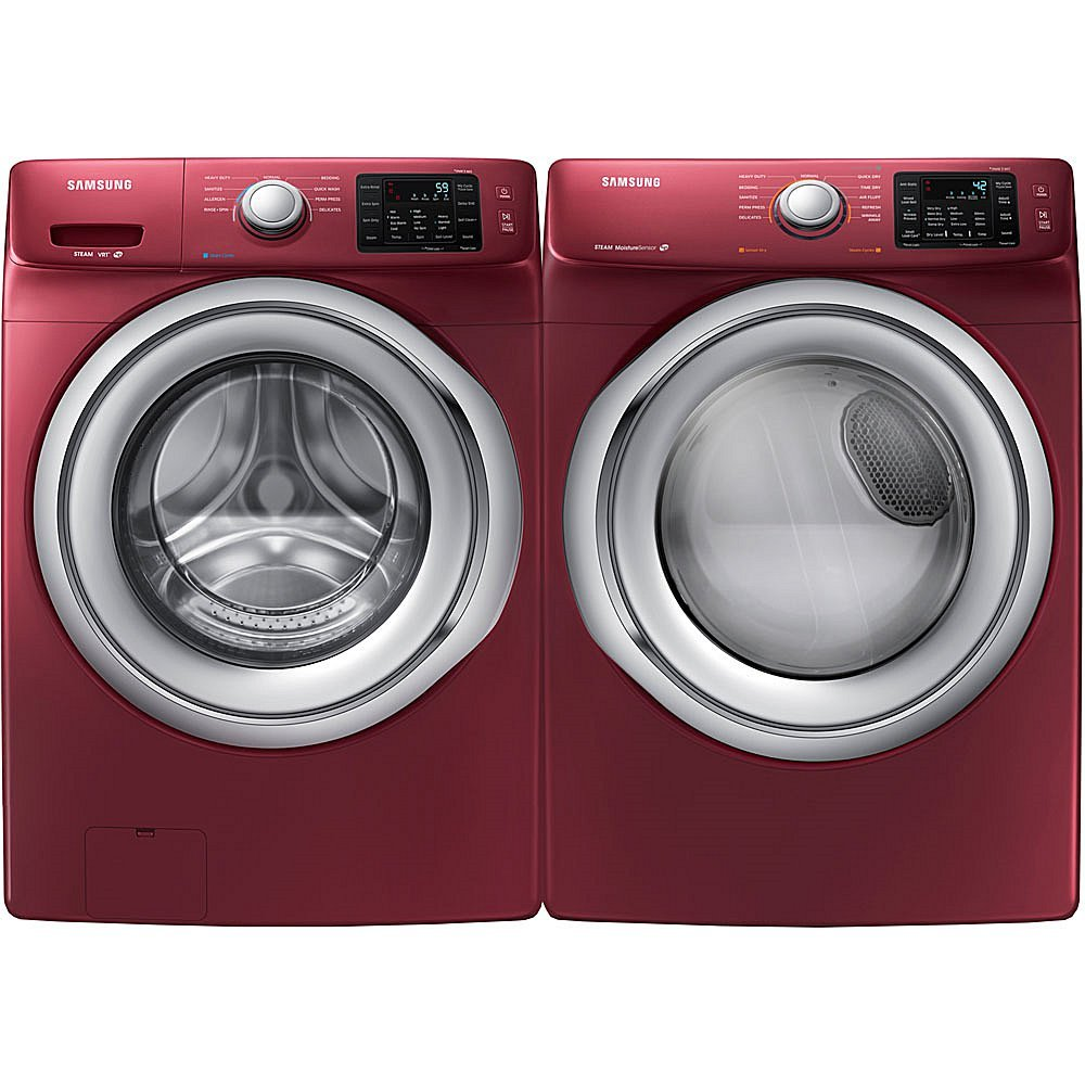 Samsung 4.2 Cu. Ft. Front Load Washer with Steam Technology and 7.5 Cu. Ft. Front Load Electric Dryer - Merlot