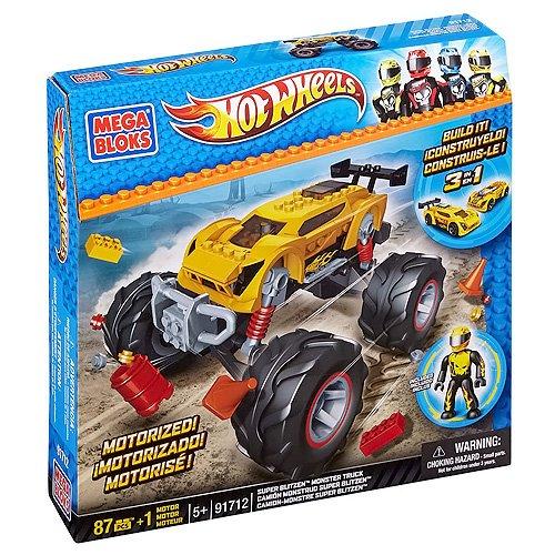Mega Bloks 91712U - Hot Wheels Camion Super Blitzen Stunt, Giallo