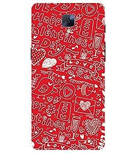 Chiraiyaa Designer Printed Premium Back Cover Case for One Plus 3 (boy girl friend valentine miss kiss bird heart tweet typography) (Multicolor)