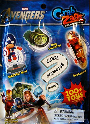 Marvel Avengers Grab Zags (1) Random Pack. Each pack contains (1) surprise toy. It will be either a Skateboard, Disc Launcher, or Mini Figure. - 1