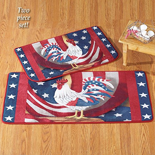 Set of 2 Counry Farm Barn Roosters Patriotic Americana Mat 4th of July USA Red White Blue Home Accent Kitchen Livinging Room Accent Rug Decor