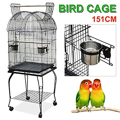 Outdoortips Large Pet Bird Parrot Cage Open Top Perches Stand Cage