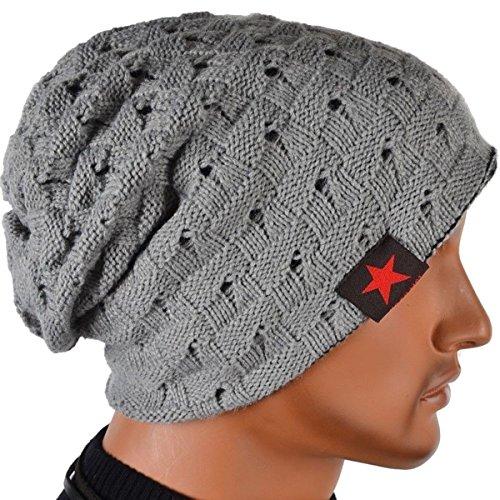 Thenice Men Reversible Slouchy Beanie Hat Unisex Skull Hat (Light Grey)