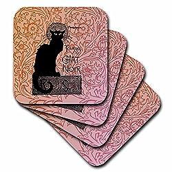 3dRose cst_79211_2 Le Chat Noir Vintage French Black Cat-Soft Coasters, Set of 8