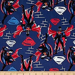 DC Comics Batman v Superman Dawn of Justice Superman Navy Fabric By The Yard