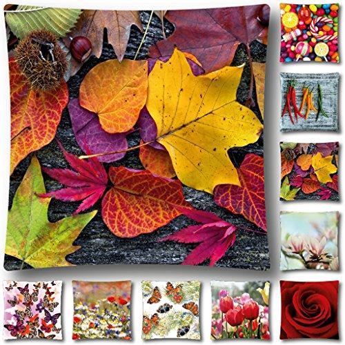 Kissen mit Motiv Fotoprint, abnehmbarer Bezug mit Reißverschluß Auswahl: Blätter 45x45cm