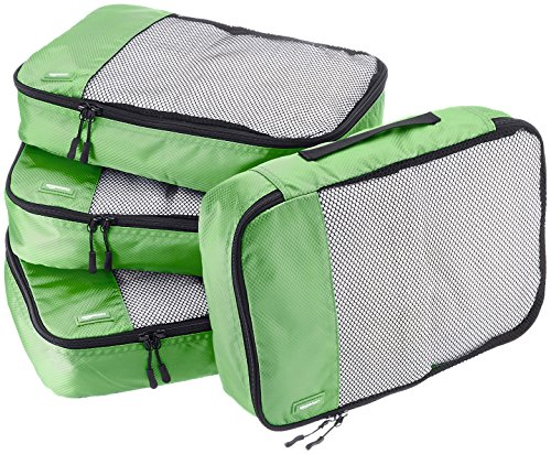 AmazonBasics Lot de 4sacoches de rangement pour bagage TailleM, Vert