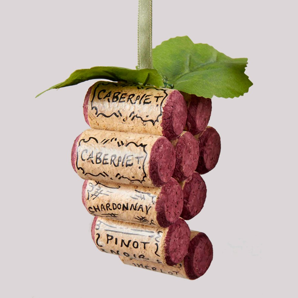 Wooden Cork Wine Grapes Bunch Ornament Burgundy C8558-A Kurt Adler wooden cork wine grapes bunch ornament burgundy c8558 a kurt adler