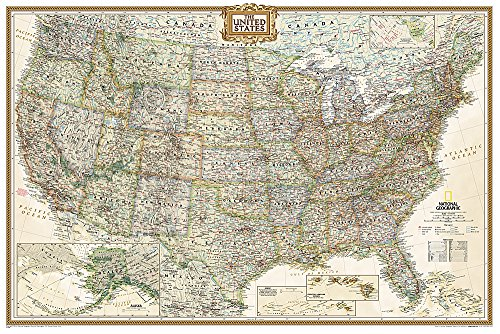 United States Executive Poster Size Wall Map (tubed) (National Geographic Reference Map) (Wall Map United States compare prices)