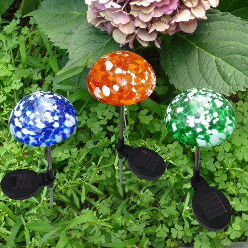 SET OF 3 Color-Changing Art Glass Mushroom Solar Powered Path Light by SOLAscape®