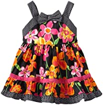 Youngland Baby-Girls Infant Sleeveless All Over Floral Print Sundress, Black/Multi, 12 Months