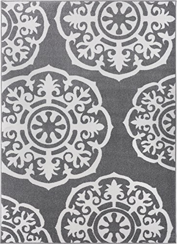 Lali Dials Suzani Grey Bone Color Modern Area Rug Transitional Area Rug Soft Pile Easy Clean Living Room Dining Room 5x7 (5'3