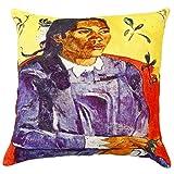Ikka Dukka Velvet Paul Gauguin Rose Woman Cushion Cover (Size-45 Cm X 45 Cm)