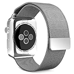 Apple Watch Band, MoKo Milanese Loop Stainless Steel Bracelet Smart Watch Strap for Apple Watch 38mm All Models with Unique Magnet Lock, No Buckle Needed - SILVER (Not Fit iWatch 42mm Version 2015)