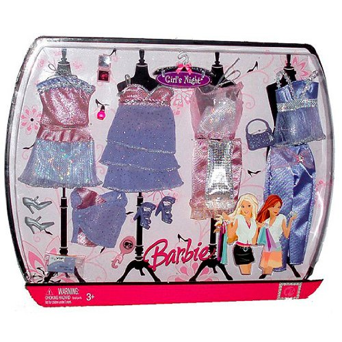 Mattel Year 2007 Barbie Fashion Fever Clothing Accessory Set - Girl's Night (L9804) Party Outfit in Pink and Lavender Theme with 4 Tops, 2 Skirts, Dress, Capris, Nail Polish, Purse, Compact, 2 Pairs Shoes, Brush and Cardboard Theater Tickets (Capri Nail Polish compare prices)