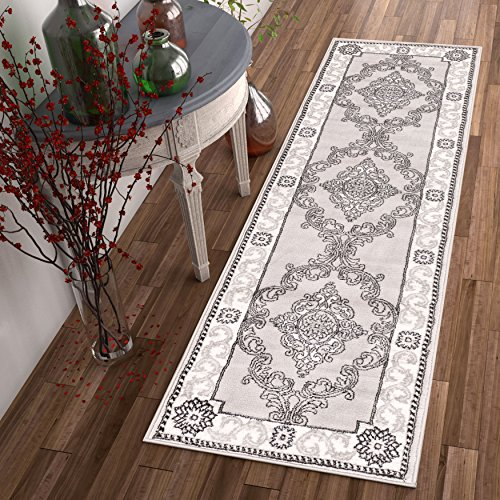 chateau-medallion-grey-french-aubusson-modern-2-x-7-23-x-73-runner-area-rug-easy-clean-stain-fade-re