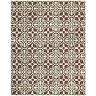 Safavieh Cambridge Collection CAM133H Handmade Wool Area Rug, 8-Feet by 10-Feet, Dark Brown and Ivory