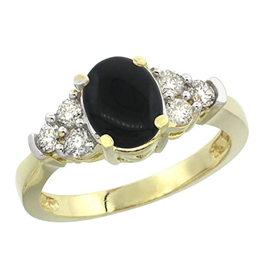 14ct Yellow Gold Natural Black Onyx Ring Oval 9x7mm Diamond Accent, sizes J - T