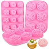 YGEOMET 3pcs Soap Mold, Silicone Flower DIY Mold Rose Handmade Chocolate Biscuit Cake Muffin, Pink (Color: Pink)