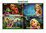 Disney Tangled Movie collectible miniature sheet of 4 stamps with Rapunzel and Flynn Rider / 2014 / Chad