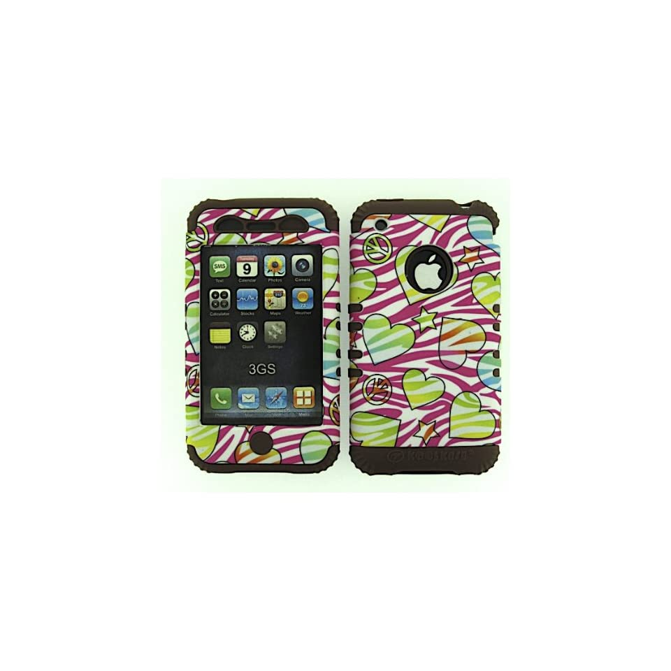 3 IN 1 HYBRID SILICONE COVER FOR APPLE IPHONE 3G 3GS HARD CASE SOFT BROWN RUBBER SKIN ZEBRA PEACE CF TE428 KOOL KASE ROCKER CELL PHONE ACCESSORY EXCLUSIVE BY MANDMWIRELESS Cell Phones & Accessories