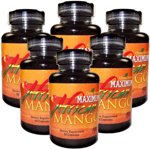 Maximum African Mango 100 Pure African Mango Plus Guarana Kola Nut Green Tea Advanced Weight Loss Supplement High Potency Appetite Suppressant Energy Boosters Fat Burner Slimming Highest Quality All Natural No Caffeine Added 450 mg per Capsules 6 Bottles 6