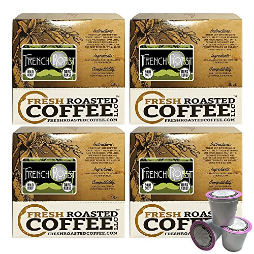 French Roast Artisan Blend Single-Serve Cups, 72 ct. of Single Serve Capsules for Keurig K-Cup Brewers, Fresh Roasted Coffee LLC. (Fresh Roasted French Roast compare prices)