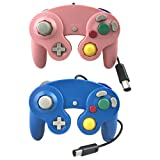 Crifeir 2 Pack Wired Controller for GameCube NGC Wii Video Game (Blue and Pink)