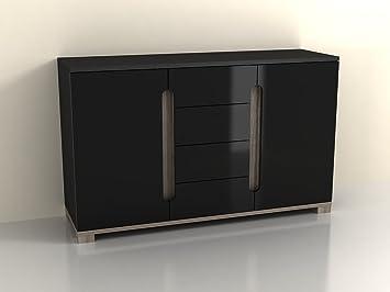 Lorenz Sideboard High Gloss Black 2 Door / 4 Drawer (P980LS 46) by furniturefactor