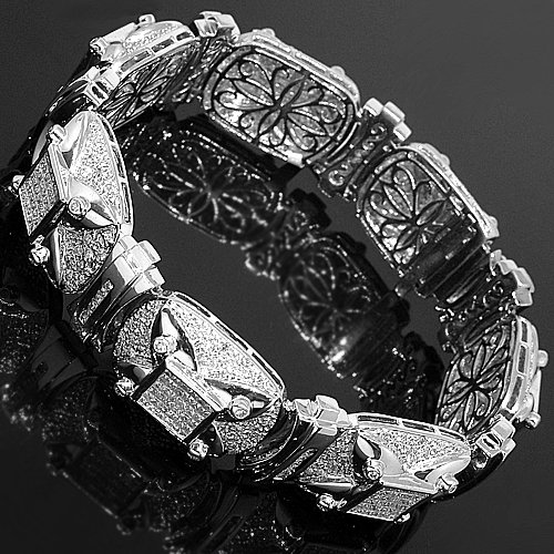 14K White Gold Mens Diamond Bracelet 13.58 Ctw