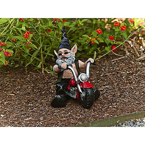 11 Inch Biker Dude on Motorcycle Garden Statue with Light & Sound
