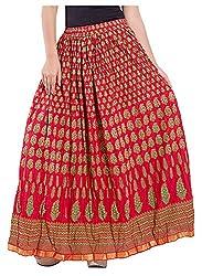 Magnus Women's Long Skirt (SKT488, Red, S)