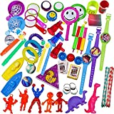 100 Piece Toy Assortment Stocking Stuffers (Includes: Wall Climbers , Glitter Megaphone Whistles , Miniature Playing Cards , Mini Cups and Ball Games , Plastic Bathtub Boats, Metal Police Badges , 3'' Parachutes , Yo Yo's , Rings, Finger Traps , and Other Small Toys for Party Favor Bags, Piñata, Carnival Prizes, or School Classroom Rewards)