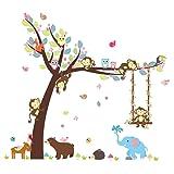 ElecMotive Cartoon Forest Animal Monkey Owls Hedgehog Tree Swing Nursery Stickers Murals DIY Posters Vinyl Removable Art Wall Decals for Kids Girls Room Decoration (Bear Elephant) (Color: Bear Elephant)