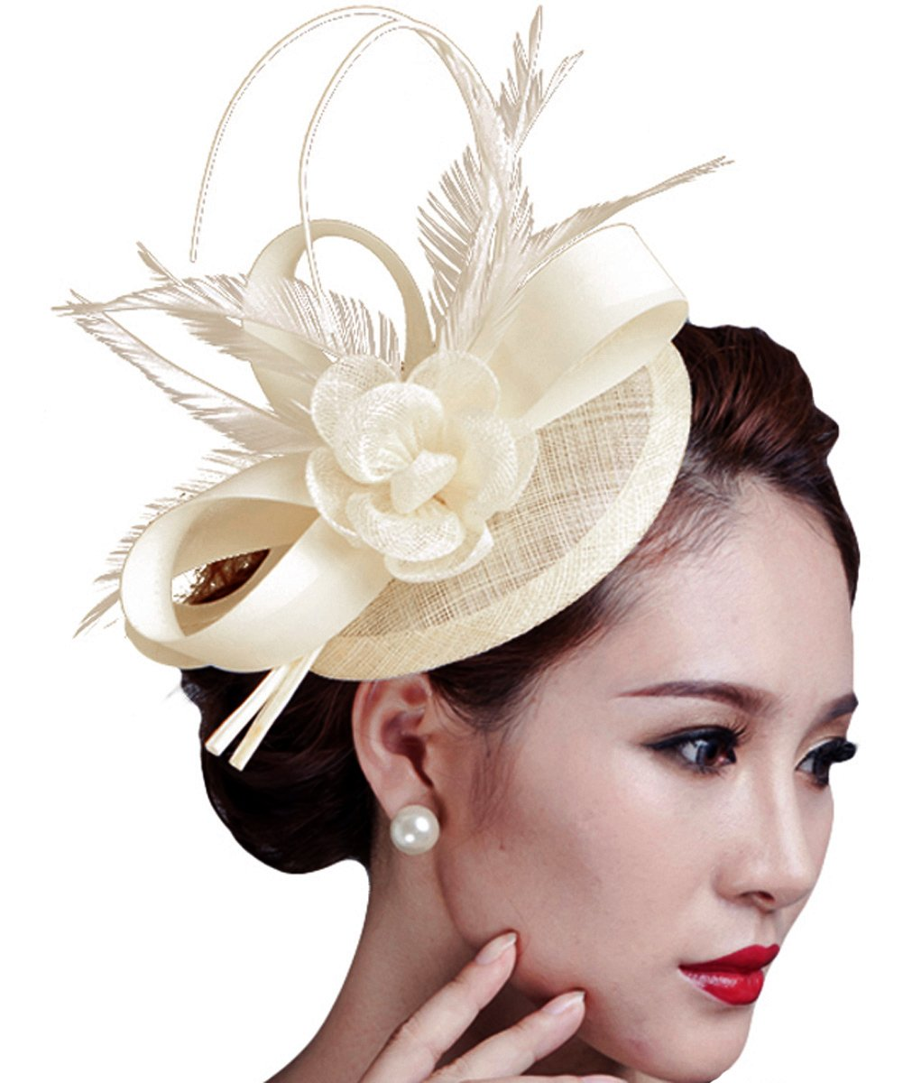 Cocktail Pillbox Hat Fascinator Hair Clip Bridal Headwear for Women 0