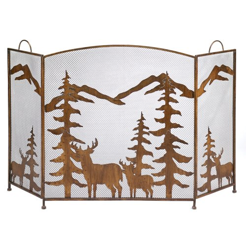 Buy Discount Gifts & Decor Rustic Forest Folding Fireplace Screen