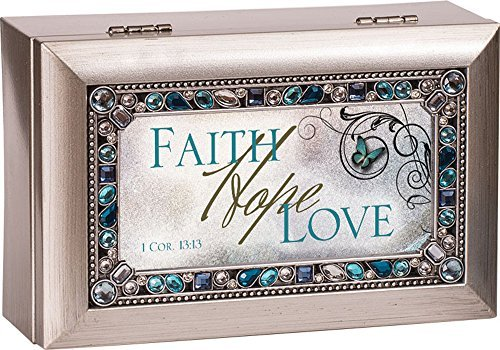 Faith Hope Love Corinthians 13:13 Jeweled Jewelry Music Musical Box Plays Tune How Great Thou Art