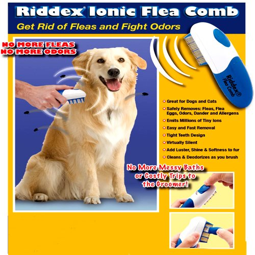 RIDDEX IONIC FLEA COMB FOR DOGS AND CATS - (GET RID OF FLEAS AND FIGHT ODORS!)