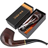 Ylyycc solid wood tobaco pipe with several accessories tobacco pipe (Color: ebony)