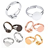OBSEDE 50Pcs Ring Blanks with 12mm Flat Base, Adjustable Ring Blank Trays Jewelry Findings (Color: 5 Colors, Tamaño: 12mm)