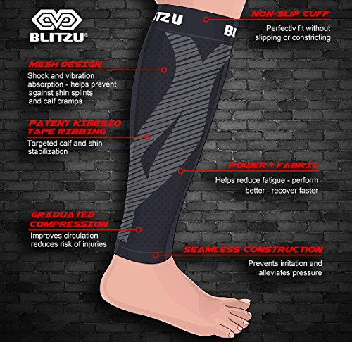 Calf Compression Sleeve (1 Pair) Blitzu Leg Performance Compression Socks for Shin Splint & Calf Pain Relief. Men Women Runners Guards Sleeves for Running. Improves Circulation and Recovery Black S/M
