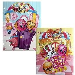 Shopkins Poly 3 Ring Binder 2 Pocket Portfolio Sturdy Folder School Supply (Set of 2)