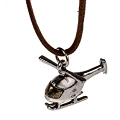 Womans Silver Mini Helicopter Necklace