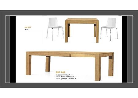 Tavolo Rovere Naturale Cm 110x90 h cm 76 + 1 Allungamento 50cm Art. 668 Rovere