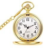 WIOR Classic Smooth Vintage Pocket Watch Sliver Steel Mens Watch with 14 in Chain for Xmas Fathers Day Gift (Golden) (Color: Golden)