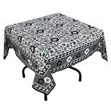 """Handmade Indian 54"""" Square Tablecloth - Black, Green And White Floral Cotton"""