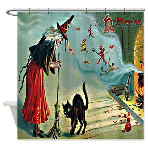 Vintage Halloween Witch Black Cat Shower Curtain - Standard White