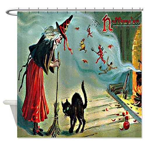 Vintage Halloween Witch Black Cat Shower Curtain - Standard White