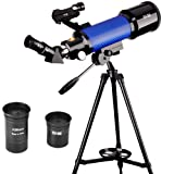 ExploreOne Telescope, 70mm Apeture Astronomy Refracter Telescope 400mm AZ Mount , Travel Scope with Tripod & Finder Scope, Portable Telescope for Kids Educational &Beginners (Color: 70/400)