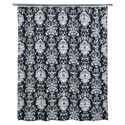 Xhilaration 174 damask shower curtain black white 72x72 quot image 2